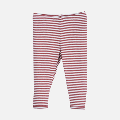 Organic Cotton Stripe Baby Leggings - Cayenne/Off White
