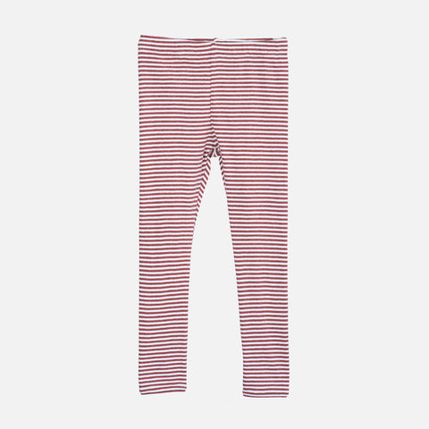 Organic Cotton Rib Leggings - Cayenne/Off White