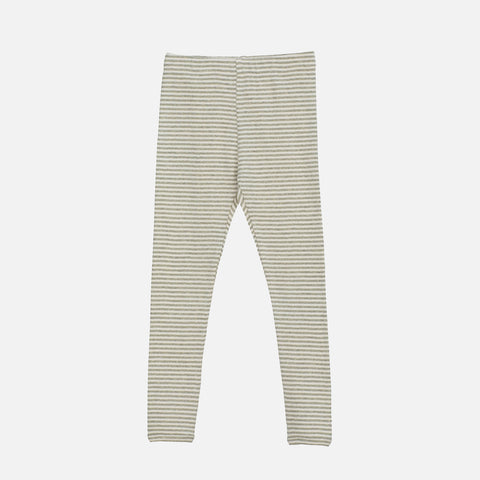 Organic Cotton Rib Leggings - Sage/Ecru
