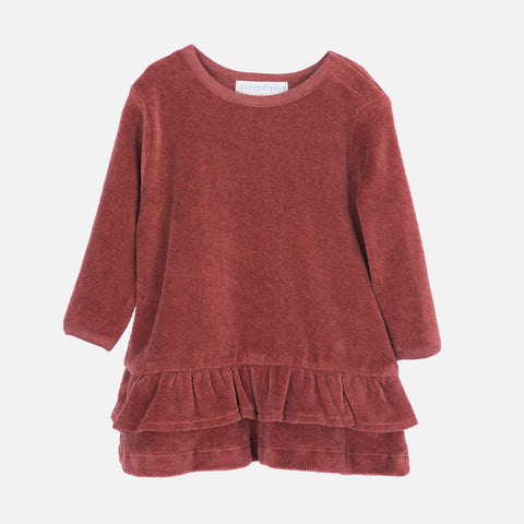 Organic Cotton Velour Baby Dress - Cayenne