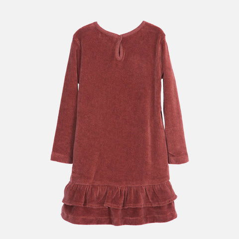 Organic Cotton Velour Dress - Cayenne