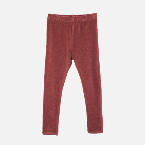 Organic Cotton Velour Leggings - Cayenne
