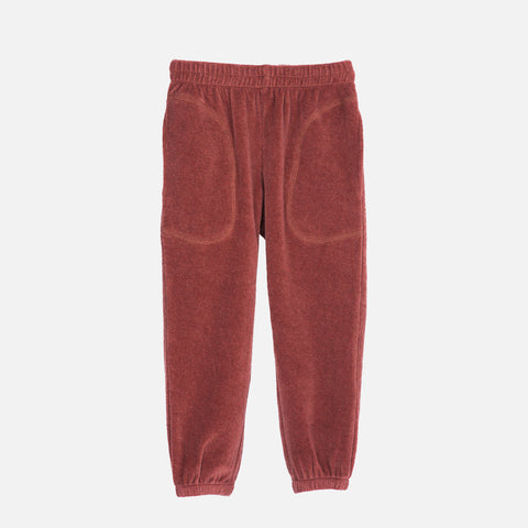 Organic Cotton Velour Pants - Cayenne