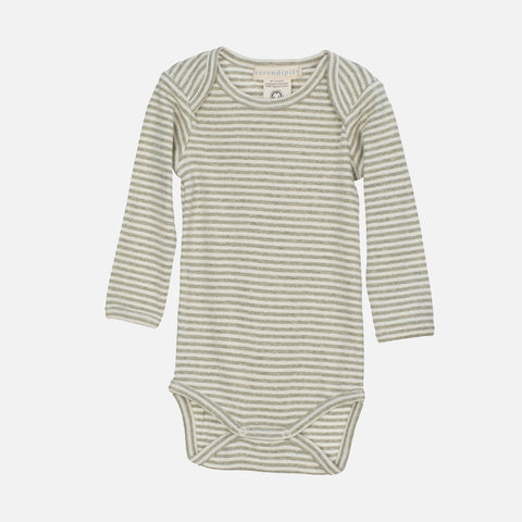 Organic Cotton Baby Body - Sage/Ecru
