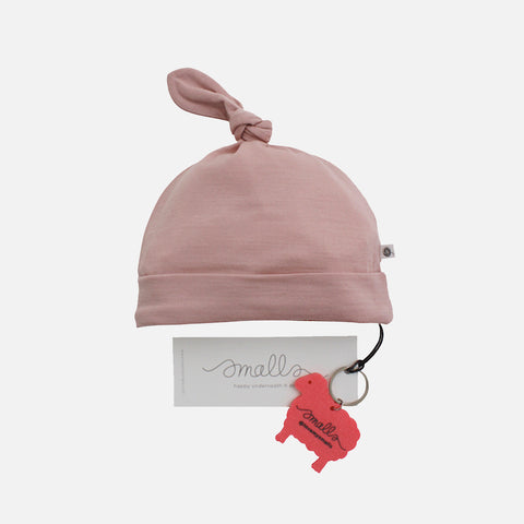 Supersoft Merino Wool Knot Beanie - Misty Rose - 0-2y