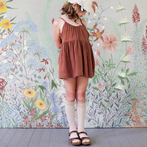 Cotton Birdie Tunic - Terracotta - 4-7y