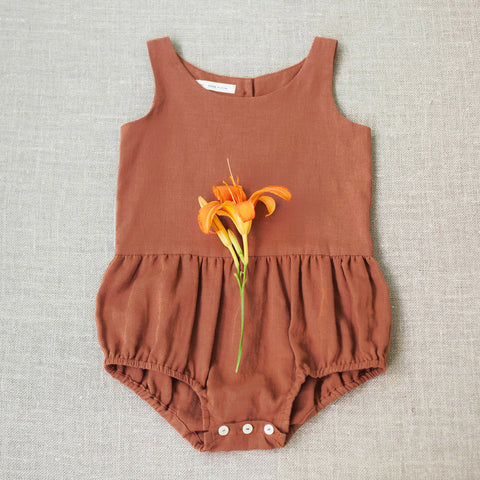 Cotton Lois Playsuit - Terracotta - 6-18m & 6-7y