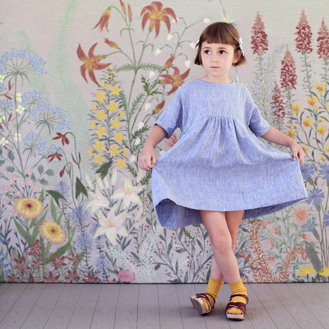Linen Millie Dress - Chambray - 8-9y