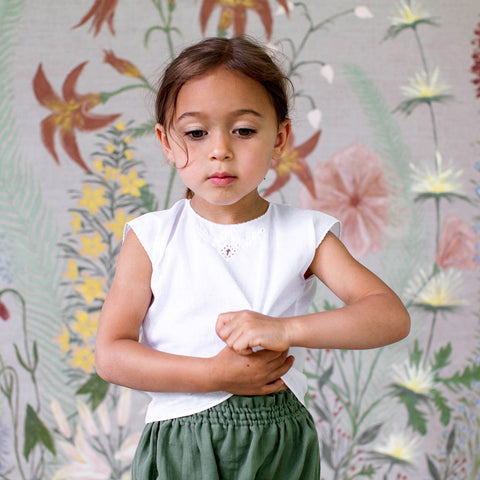 Cotton Priscilla Camisole - White - 1-2y