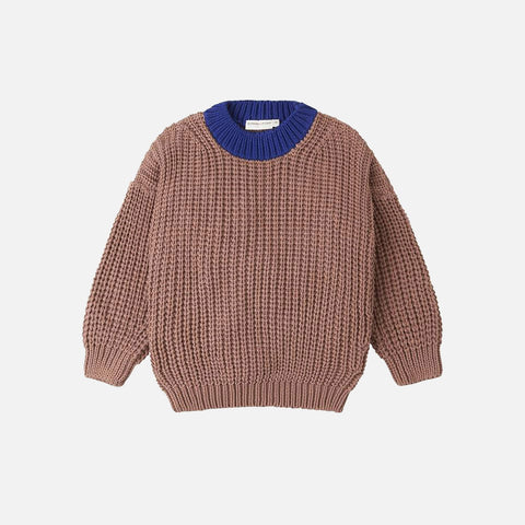 Cotton Chunky Pullover - Coco/Royal Blue