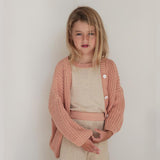 Cotton Chunky Cardigan - Coral