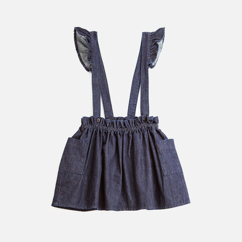 Cotton Kids Miniskirt with Suspenders - Denim - 2-8y