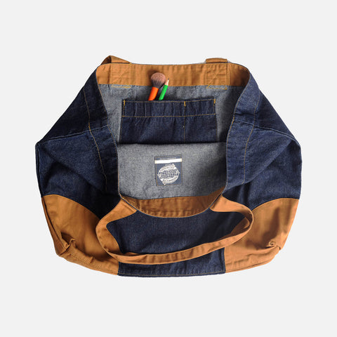 Cotton Shopper Bag - Denim/Khaki