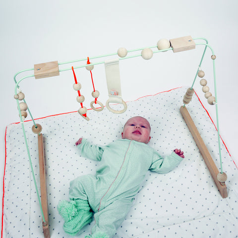 Steel and Wood Baby Gym - Mint