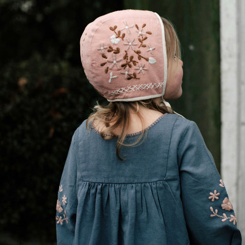 Cotton Joni Baby Bonnet - Buckwheat/Pink - 6m-4y