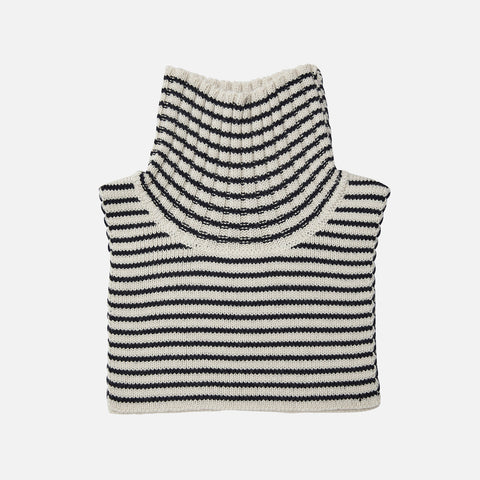 Merino Wool Stripe Neck Warmer - Ecru/Navy