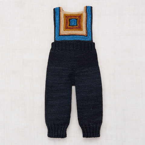 Hand Knit Merino Wool Log Cabin Overall - Midnight - 0-4y