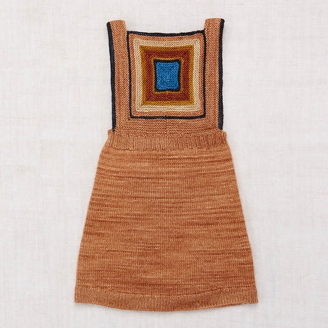 Hand Knit Merino Wool Log Cabin Pinafore - Rose Gold - 2-8y