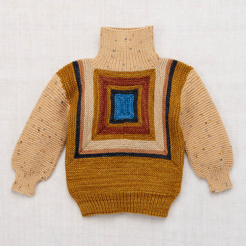 Hand Knit Merino Log Cabin Split Neck Sweater - Camel Confetti - 2-8y