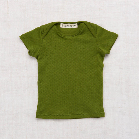 Cotton Pointelle Slim Tee - Grass Green - 6m-8y