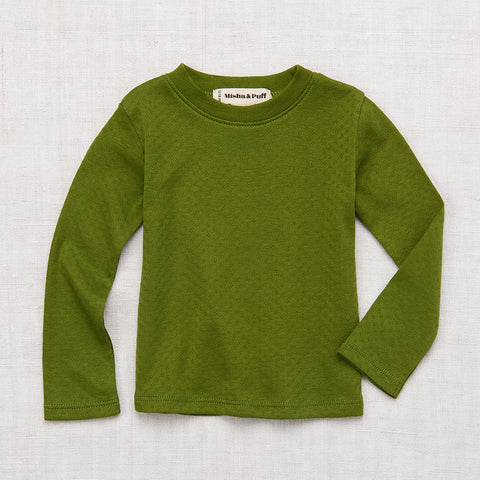 Cotton Pointelle LS Tee - Grass Green - 6m-8y