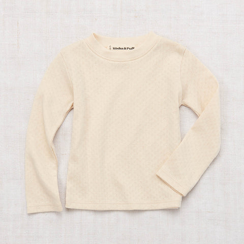 Cotton Pointelle LS Tee - Natural - 6m-8y