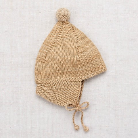 Hand Knit Merino Wool Pointy Peak Hat - Alabaster - 6m-8y