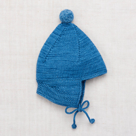 Hand Knit Merino Wool Pointy Peak Hat - Cobalt - 6m-8y
