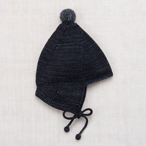 Hand Knit Merino Wool Pointy Peak Hat - Midnight - 6m-8y