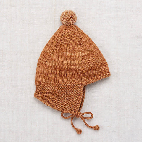 Hand Knit Merino Wool Pointy Peak Hat - Rose Gold - 6m-8y