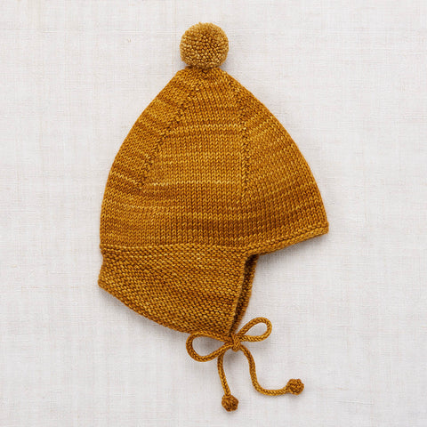 Hand Knit Merino Wool Pointy Peak Hat - Spun Gold - 6m-8y