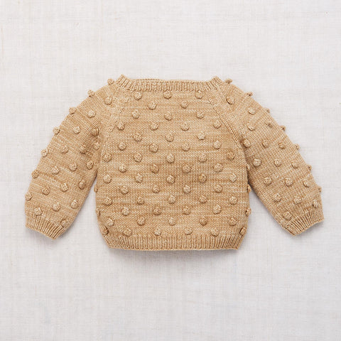 Hand Knit Merino Wool Popcorn Sweater - Alabaster - 6m-8y