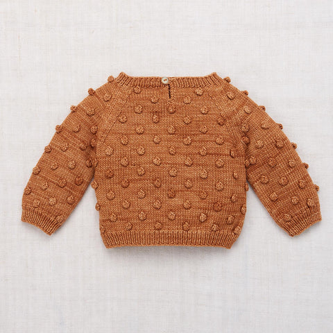 Hand Knit Merino Wool Popcorn Sweater - Rose Gold - 6m-8y