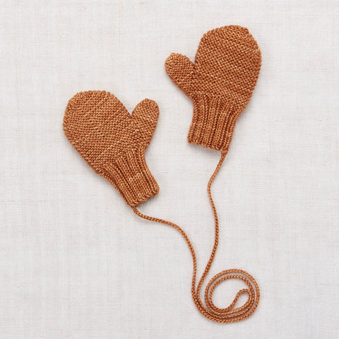 Hand Knit Merino Wool Safe Harbor Mittens - Rose Gold - 0-8y