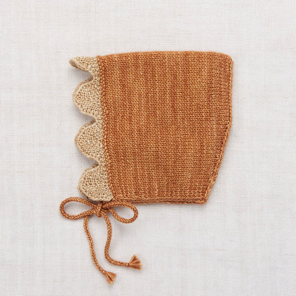 Hand Knit Merino Wool Scallop Bonnet - Rose Gold - 0-4y