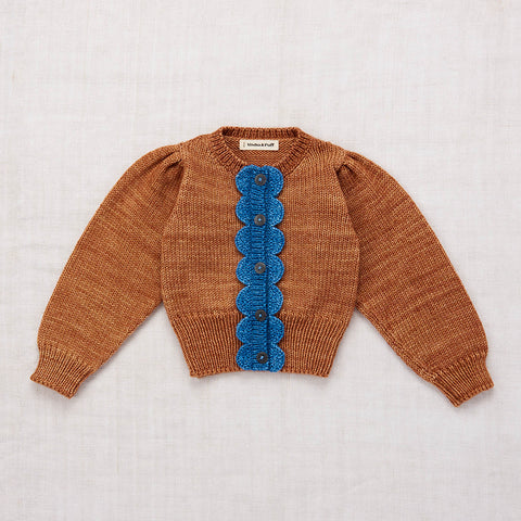 Hand Knit Merino Wool Scallop Cardigan - Rose Gold - 2-8y