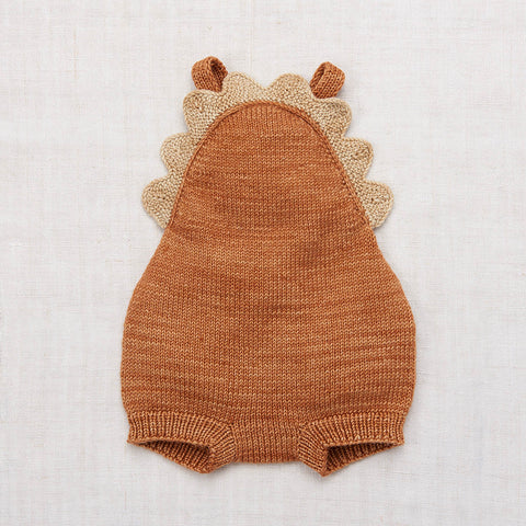 Hand Knit Merino Wool Scallop Romper - Rose Gold - 0-5y