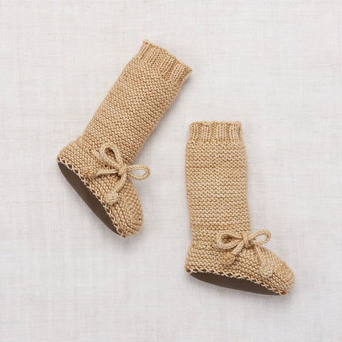 Hand Knit Merino Tall Day Hike Booties - Alabaster - 0-24m