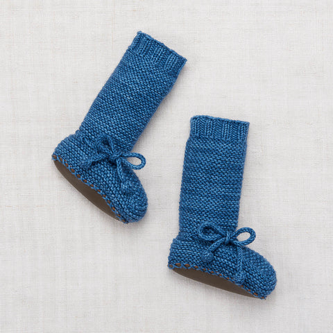 Hand Knit Merino Tall Day Hike Booties - Cobalt - 0-24m
