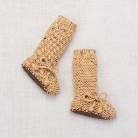 Hand Knit Merino Tall Day Hike Booties - Camel Confetti - 0-24m