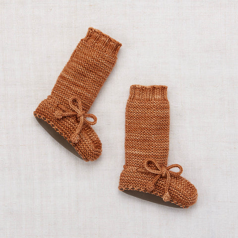 Hand Knit Merino Tall Day Hike Booties - Rose Gold - 0-24m