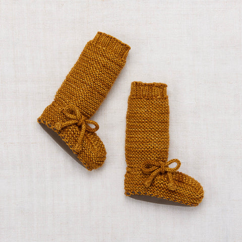 Hand Knit Merino Tall Day Hike Booties - Spun Gold - 0-24m