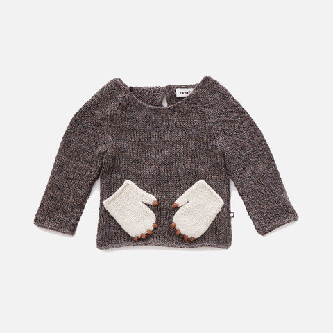 Alpaca Monster Sweater - Brown -  1-6y