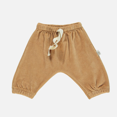 Organic Cotton Velour Cannelle Baggy Pants - Indian Tan