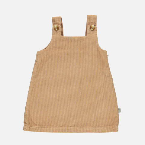 Organic Cotton Moka Chunky Corduroy Pinafore Dress - Indian Tan