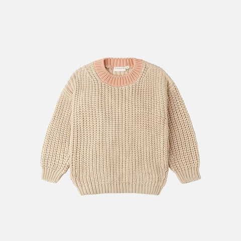 Cotton Chunky Pullover - Natural/Coral