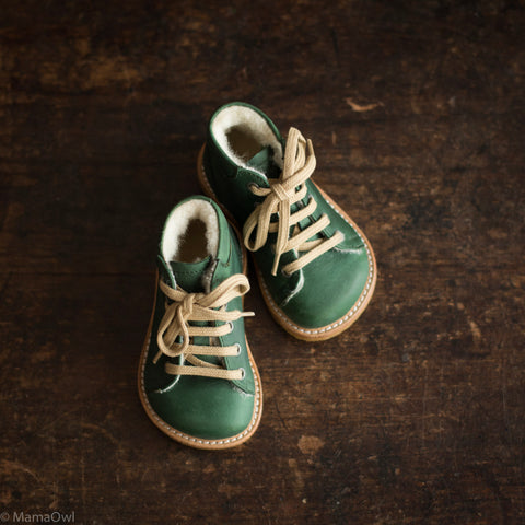 Wool Lined Toddler Boots - Oiled Green - 20 (UK 4) - 25 (UK 8)