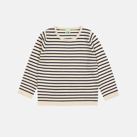 Merino Striped Kids Blouse - Ecru/Navy - 2-12y