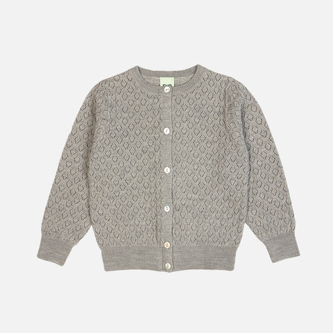 Merino Pointelle Kids Cardigan - Light Grey - 2-12y