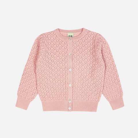 Merino Pointelle Kids Cardigan - Rose - 2-12y